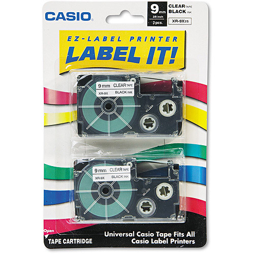 Casio Label Printer Tape For CWL-300 - 9mm Tape, Black-On-Clear, 2 Pack