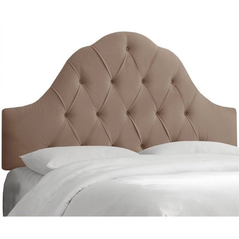 Pemberly Row Upholstered Twin Tufted Panel Headboard in Brown