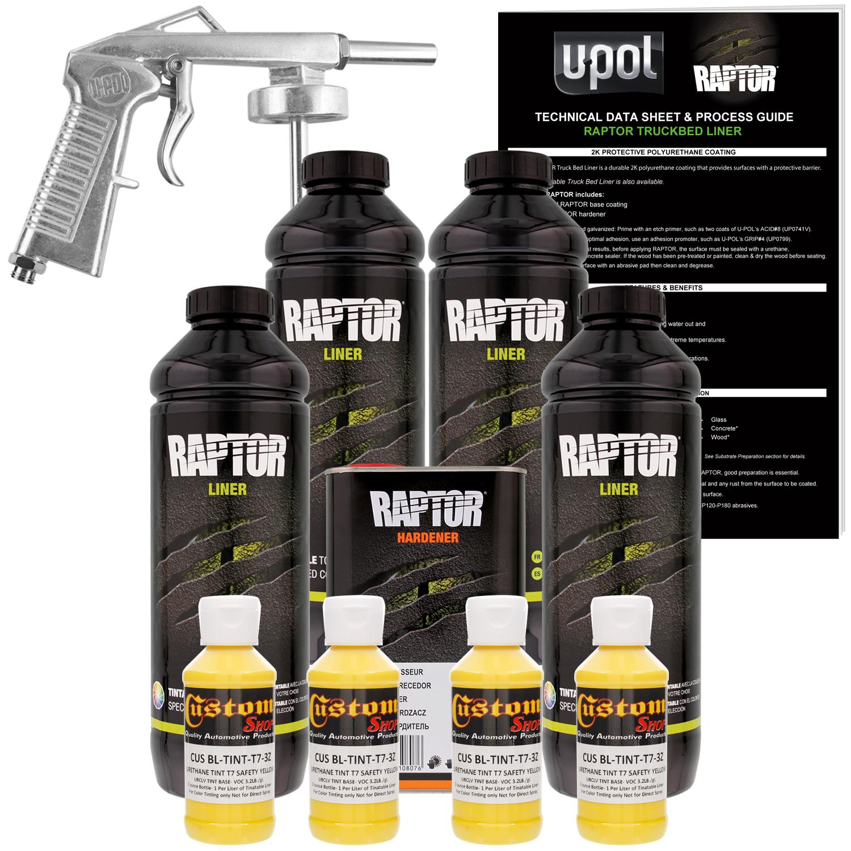 Raptor Safety Yellow Urethane Spray-On Truck Bed Liner Spray Gun, 4 Liters