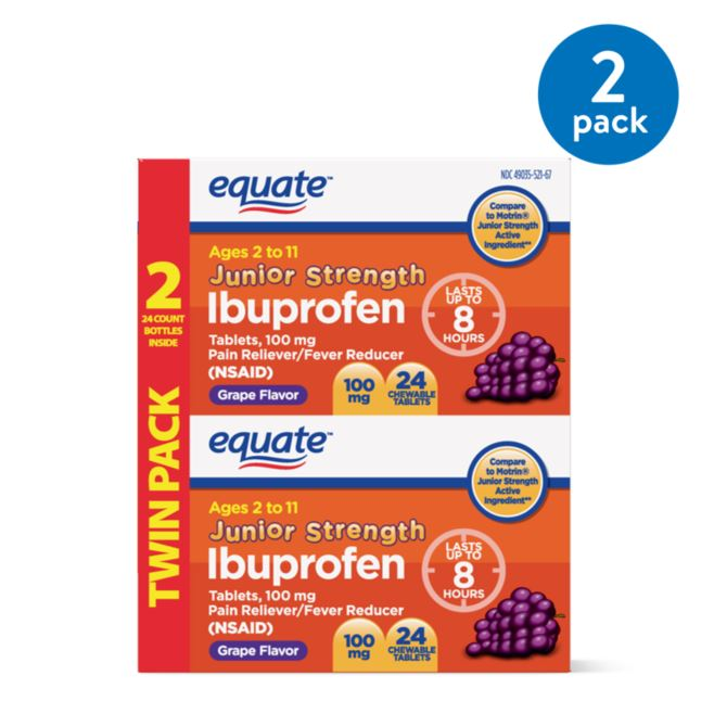 Equate Children's Ibuprofen Grape Flavor Tablets, 100 mg, 24 Ct, 2 Pk