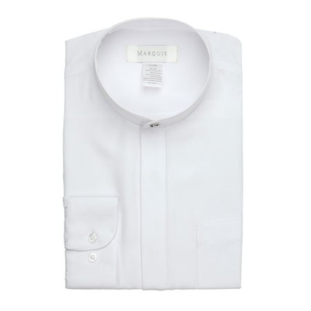 Long-sleeve Banded Collar Shirt - Black Or White Color Banded Collar Long Sleeve Work Shirt