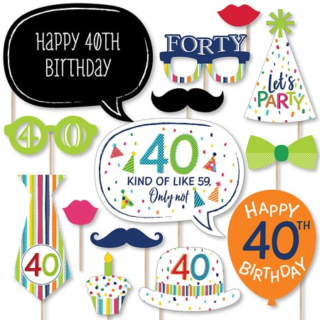- 40th Birthday - Cheerful Happy Birthday - Colorful Fortieth Birthday Party Photo Booth Props Kit - 20 Count