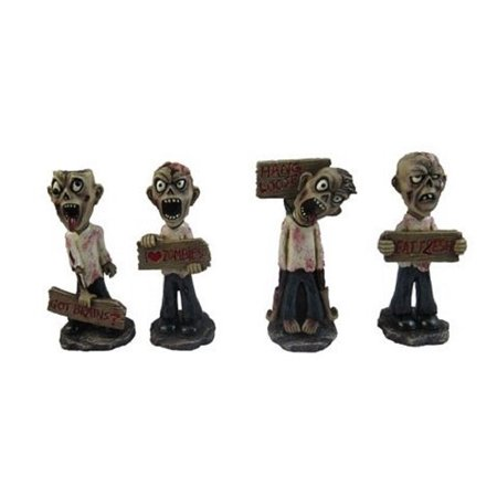 Gruesome Foursome Zombies Holding Signs Miniature Halloween Figurines Set of - Halloween Foursome