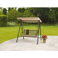 Mainstays Bellingham 2-Seat Wrought Iron Cushion Swing (Tan)