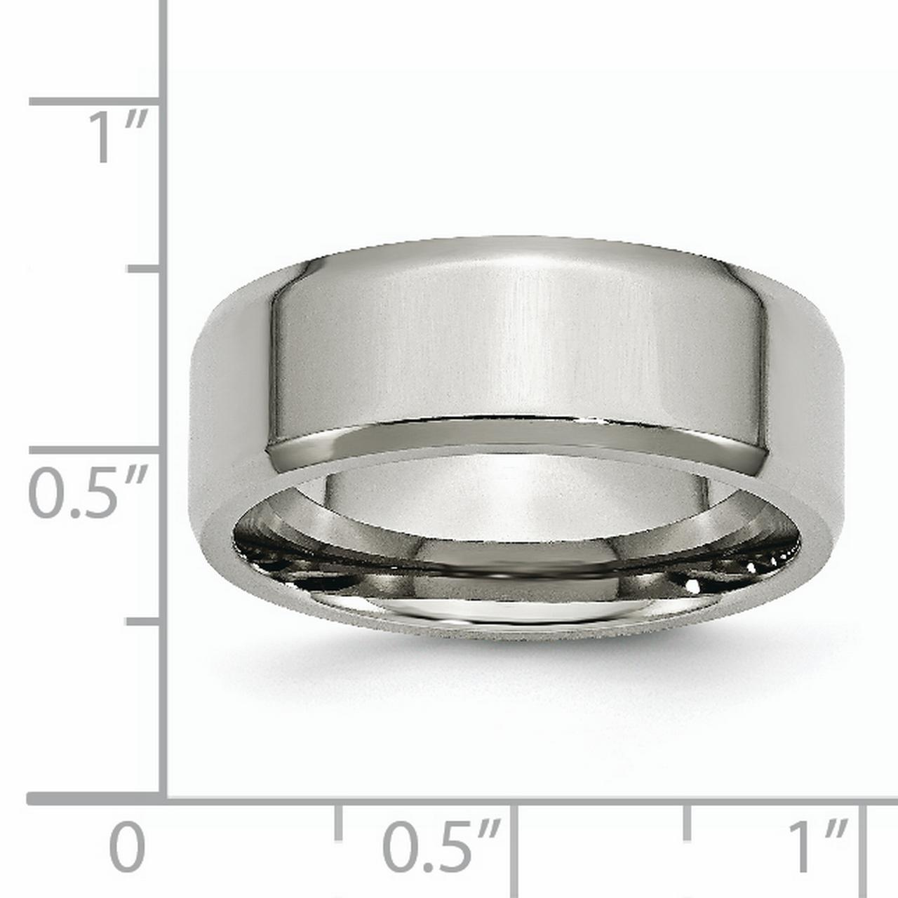 Stainless Steel Beveled Edge 8mm Wedding Ring Band Size 8.00 Classic Flat W/edge Fashion Jewelry Gifts For Women For Her - image 3 of 6
