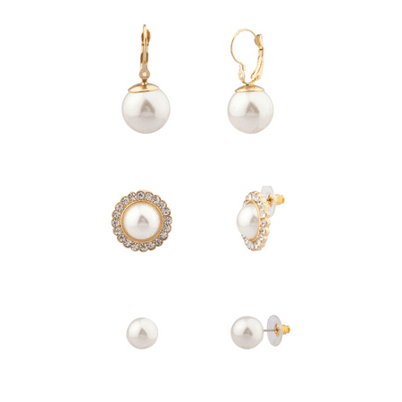 Lux Accessories Faux Pearl Pave Crystal Bridal Multiple Earrings Set