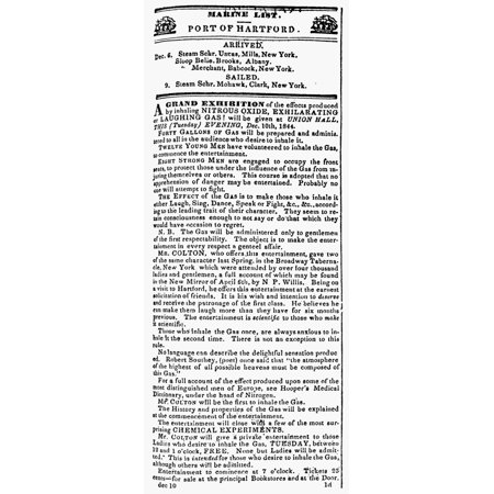 Courant Nitrous Oxide Nadvertisement From The Hartford Connecticut Courant 10 December 1844 Of Gardner Q Coltons Nitrous Oxide Exhibition Attended That Evening By Horace Wells Rolled Canvas Art     24