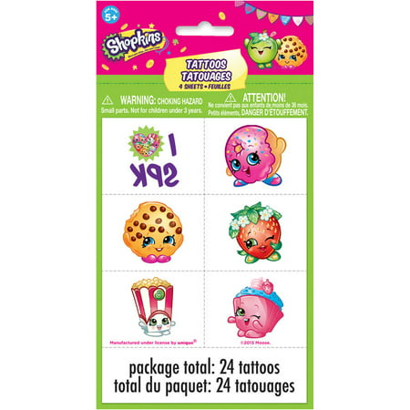 Shopkins Temporary Tattoos, 24ct](Tattoos For Kids Names)