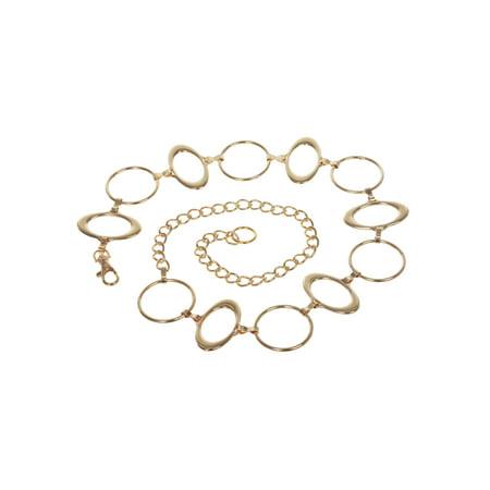Ladies Metal Oval Circle Chain Belt