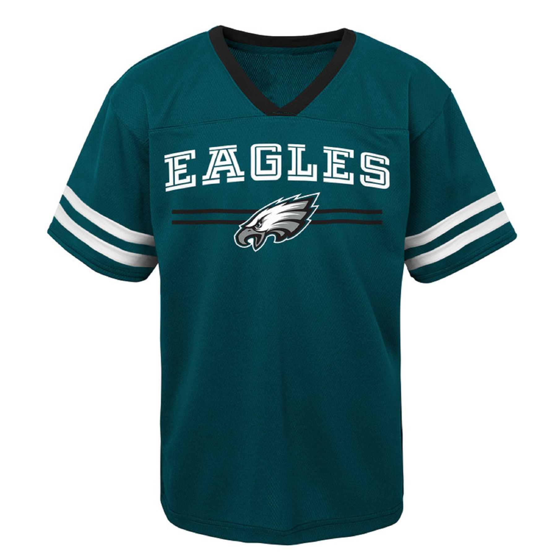 Youth Midnight Green Philadelphia Eagles Mesh V-Neck T-Shirt