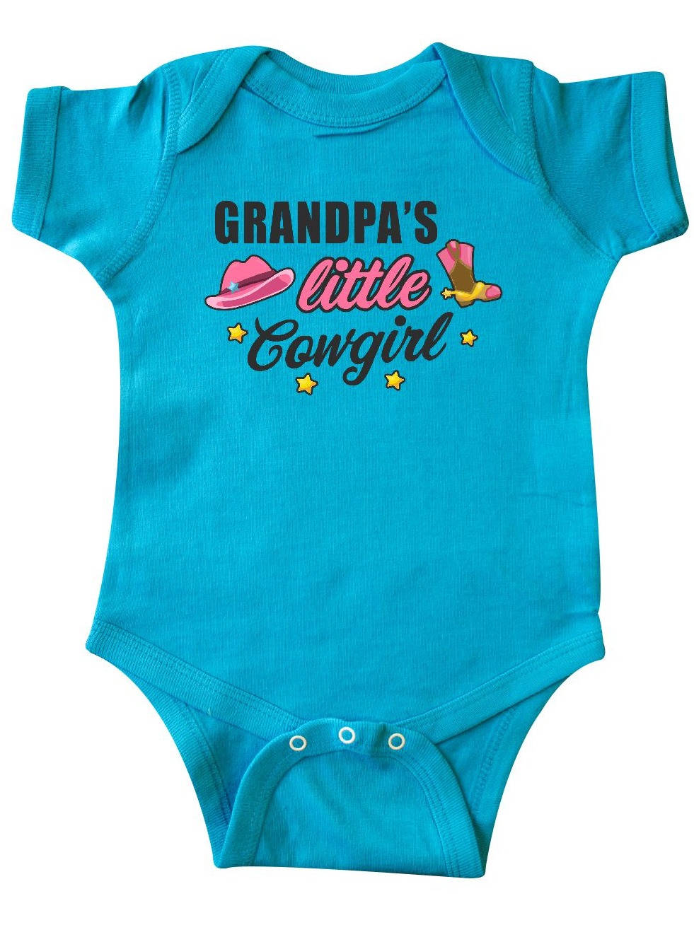 inktastic Grampas Little Cowgirl with Cowgirl Hat and Boots Long Sleeve Creeper
