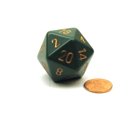 34mm Large 20-Sided D20 Opaque Chessex Dice, 1 Die-Dusty Green w/ Copper Numbers - Green Fuzzy Dice