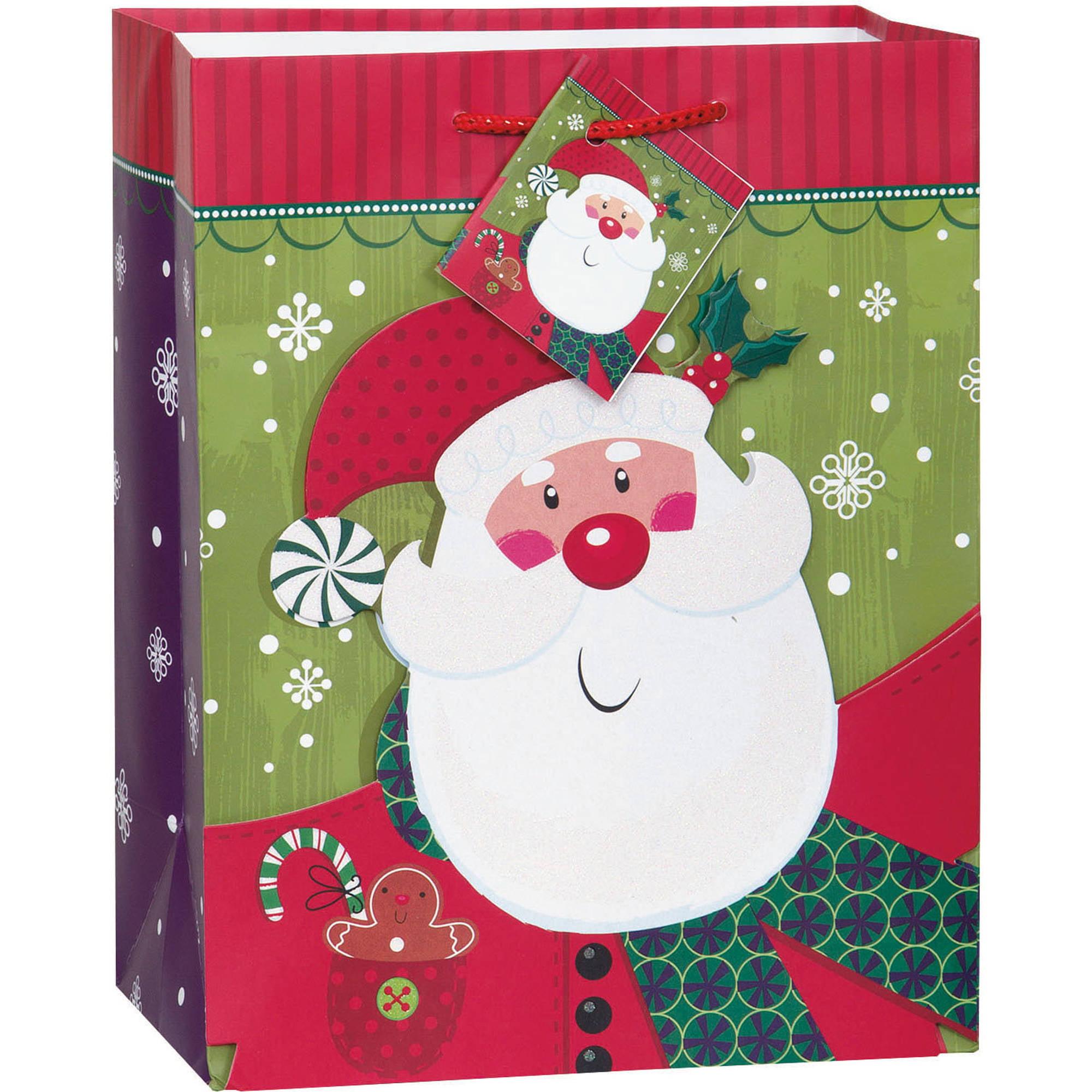 Medium Smiling Santa Christmas Gift Bag - Walmart.com