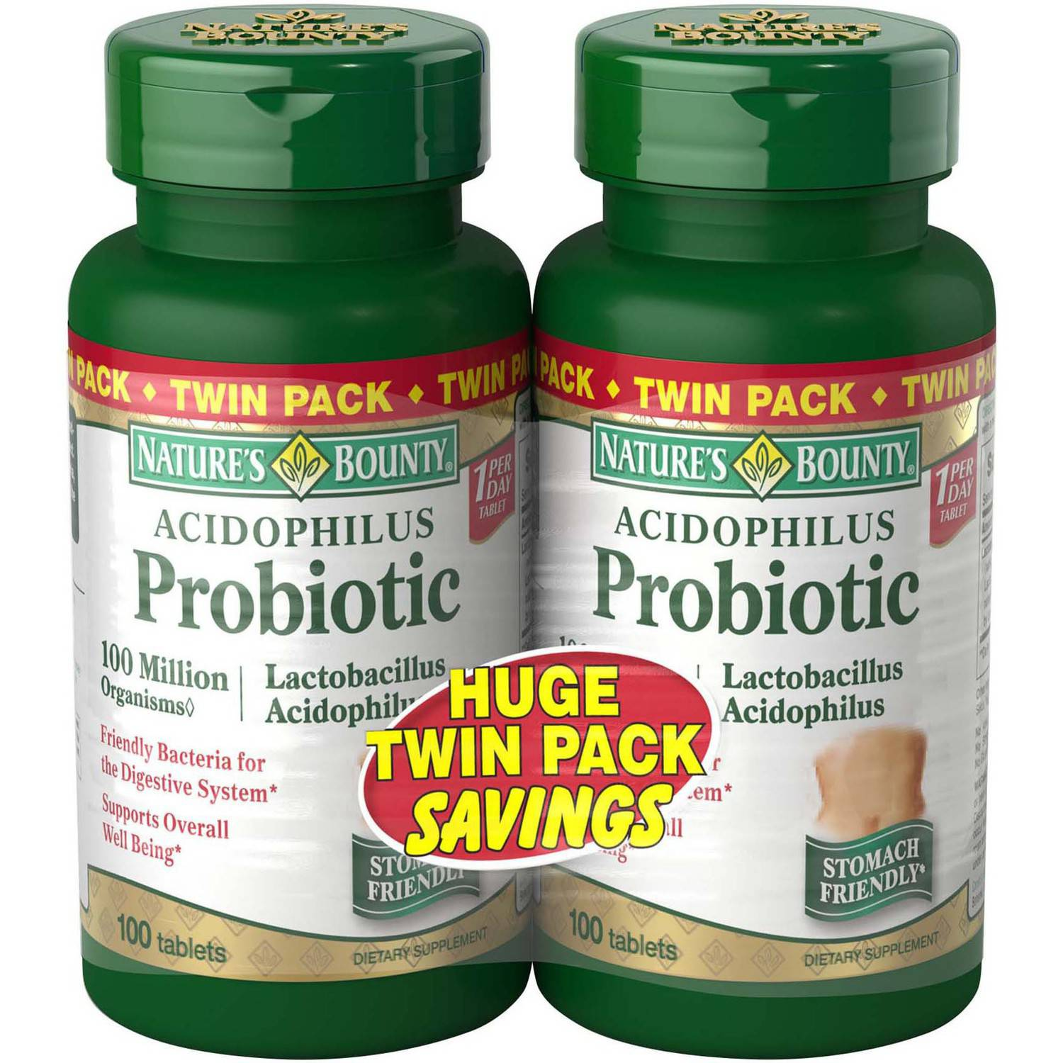 Nature's Bounty Acidophilus Probiotic Dietary Supplement Tablets, 100 count, (Pack of 2)