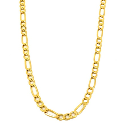 Real 10k Yellow Gold Hollow Figaro Chain / Necklace, 2.5mm and 16