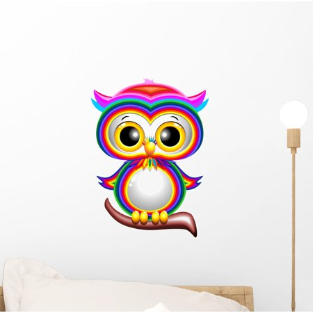 Rainbow Baby Owl Cartoon Wall Decal by Wallmonkeys Peel and Stick Graphic (12 in H x 9 in W) WM241520