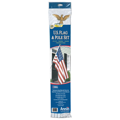 Annin Flagmakers 3' x 5' U.S. Flag and Flagpole Set