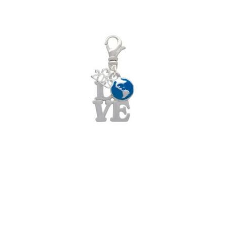 Enameled Globe Charm - Silvertone Love with Enamel Earth Globe - 2019 Clip on Charm