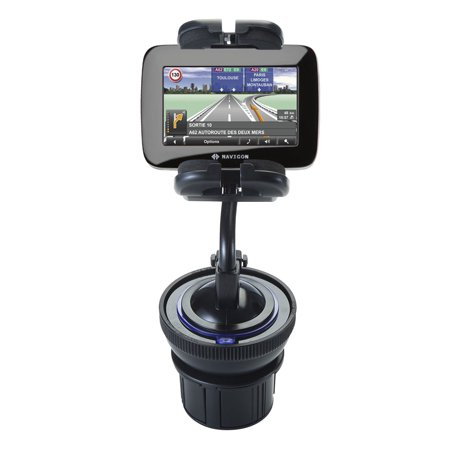 Unique Auto Cupholder and Suction Windshield Dual Purpose Mounting System for Navigon 7100 - Flexible Holder System Includes Two Mount Options (Navigon Gps Mount)