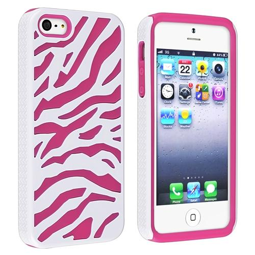 Insten Hybrid Case For Apple iPhone 5, Hot Pink Skin/ White Hard Zebra