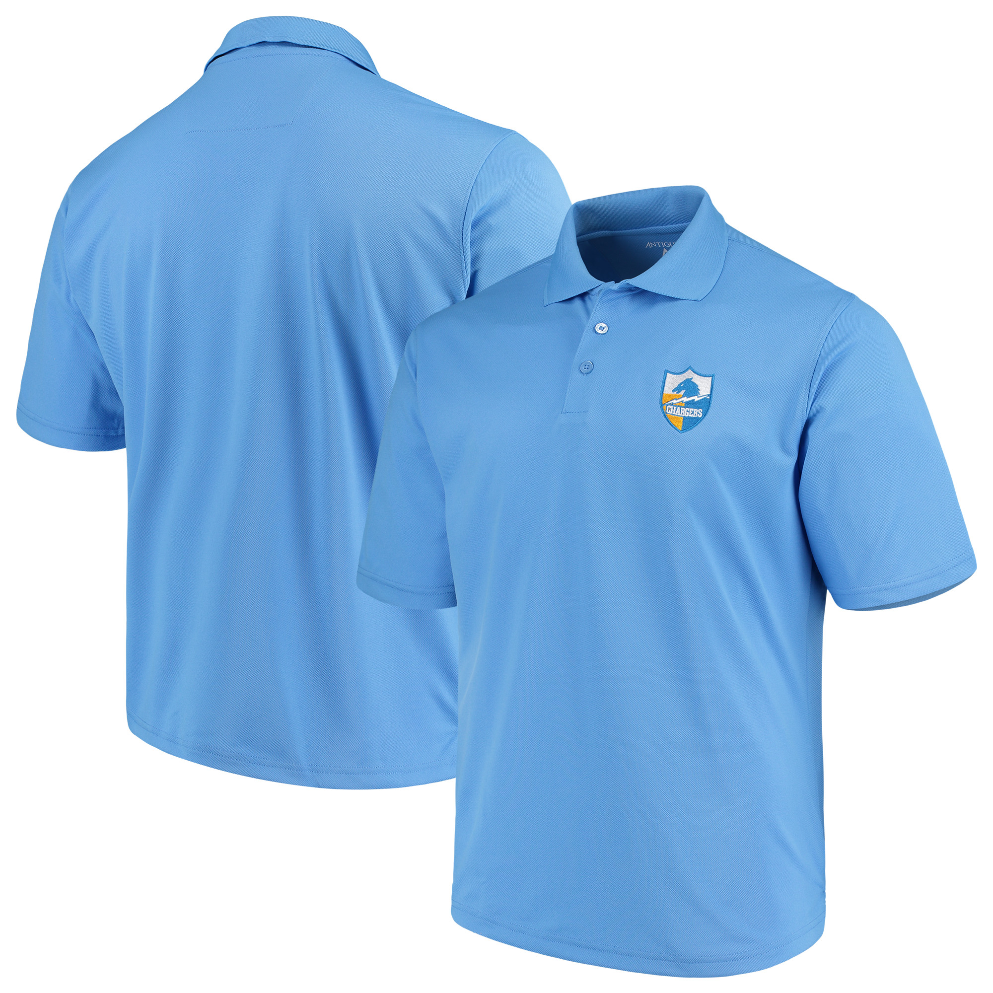Los Angeles Chargers Antigua Throwback Pique Polo - Powder Blue