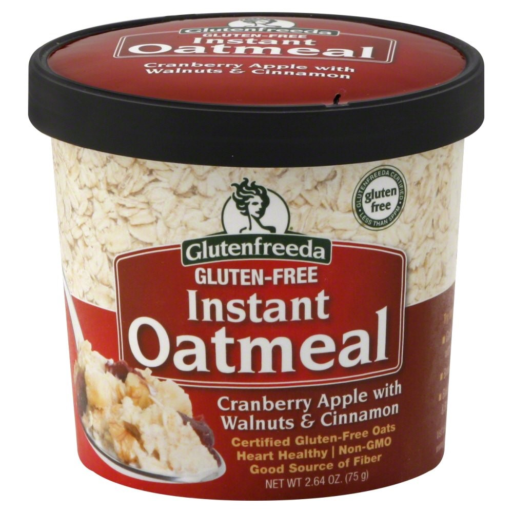 Glutenfreeda Gluten-Free Instant Oatmeal Cup, Cranberry Apple with Walnuts & Cinnamon, 2.64 Oz