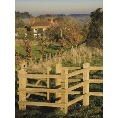 New Wooden Kissing Gate, Heart of England Way Footpath, Tanworth in Arden, Warwickshire, England Print Wall Art By David Hughes