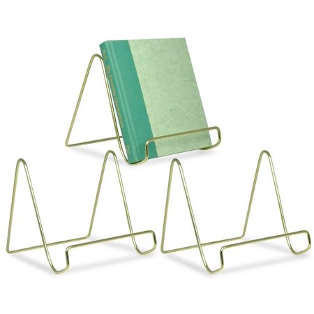 Ornate Brass Easel (Wire Easel Display Stand Plate Holders - Smooth Brass Metal - 6