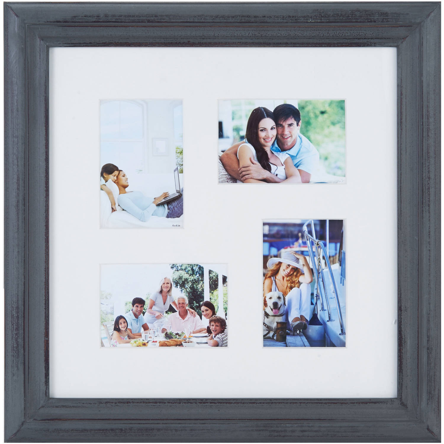 Melannco 4 Opening Distressed Gray Photo Collage, Picture Frame