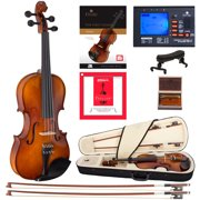 Cecilio Left-Handed Full Size 4/4 CVN-320L Ebony Fitted Solid Wood Violin D'Addario Prelude Strings, Lesson Book, Shoulder Rest and More
