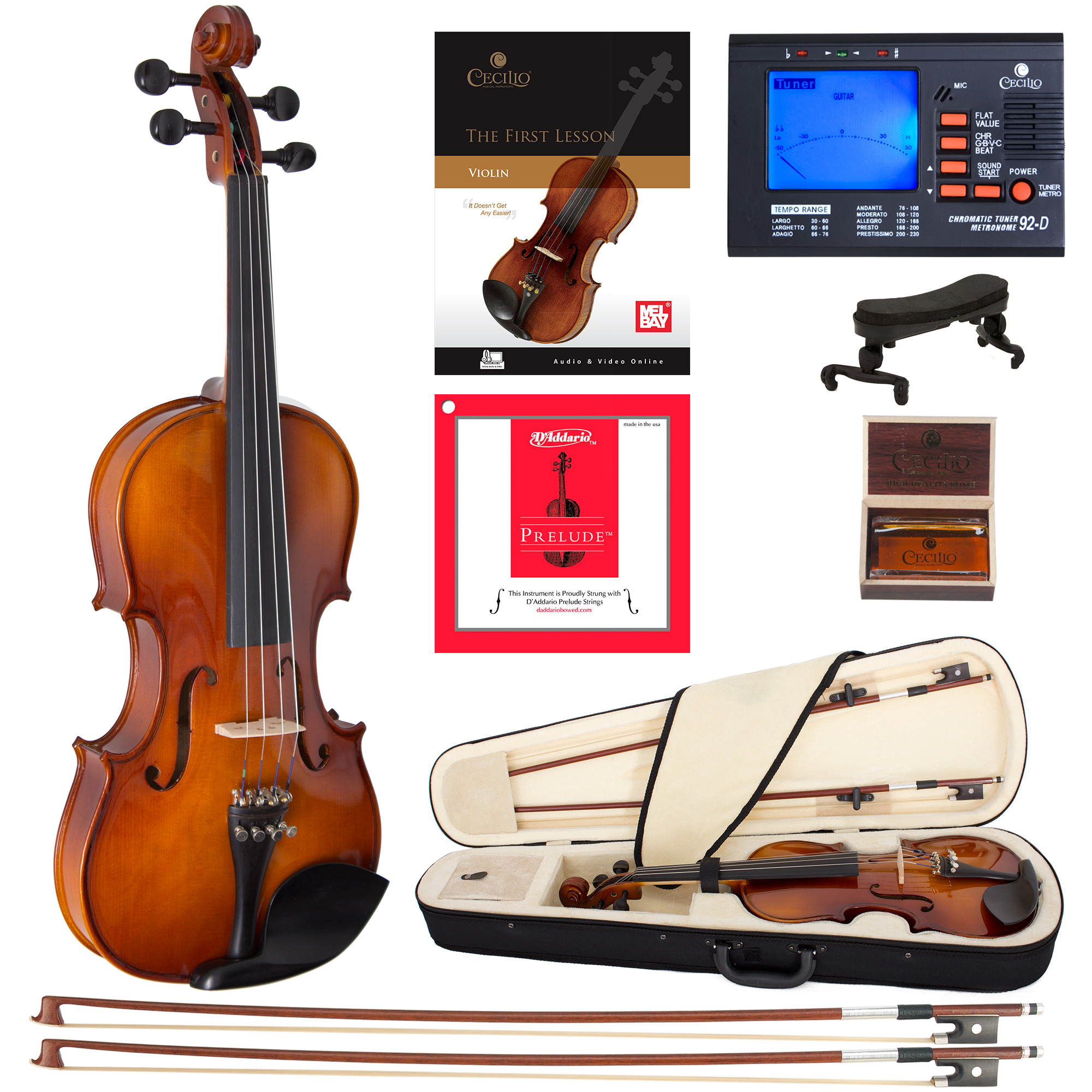Cecilio Left-Handed Full Size 4/4 CVN-320L Ebony Fitted Solid Wood Violin w/D'Addario Prelude Strings, Lesson Book, Shoulder Rest and More
