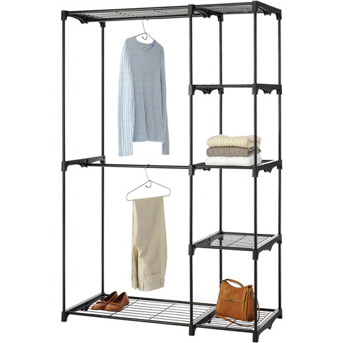 Whitmor Tall Deluxe Double Rod Closet, Black
