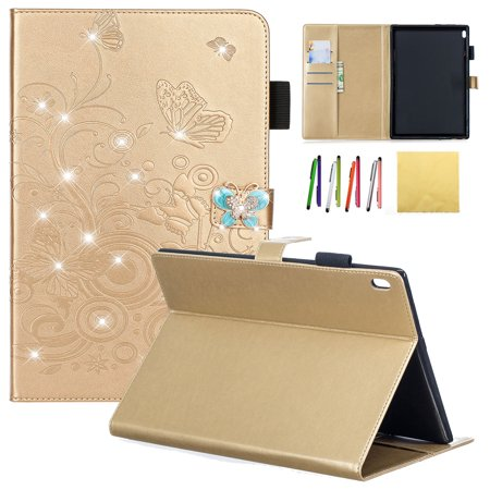 """Lenovo Tab 4 / Tab 4 Plus 10"""" Case, Allytech Emboss Butterfly Dianmond PU Leather Cover Folio Case Stand with Cash Card Slots for Lenovo Tab 4 / Tab 4 Plus 10.1 Inch HD Tablet 2017 Release, Gold"""