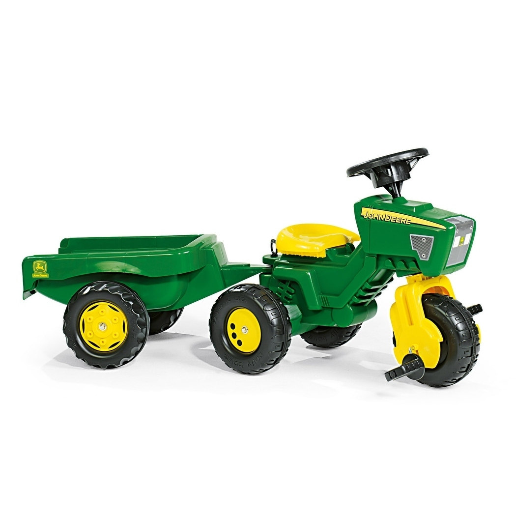 John Deere 3 Wheel Trac w  Trailer Green Yellow by Overstock