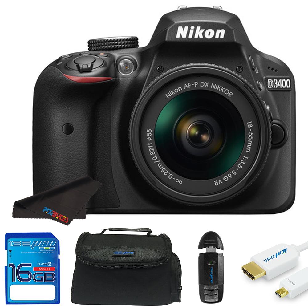 Nikon D3400 DSLR Camera with Nikon AF-P DX NIKKOR 18-55mm f/3.5-5.6G Lens + Pixi Starter Bundle Kit