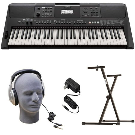 Yamaha PSR-E463 PKY Premium Keyboard Pack with Power Supply, Bolt-On Stand,  and Headphones
