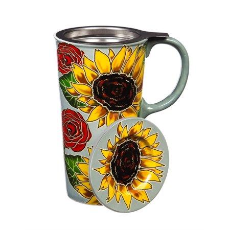 Ceramic Travel Cup w/ Infuser & Lid, 17 OZ., w/box, Sunflowers