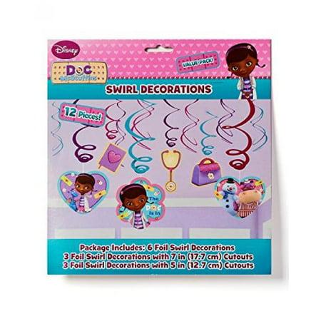 Doc McStuffins Hanging Foil Swirl Decorations (6 Piece) - Party - Doc Mcstuffins Party Favor Bags