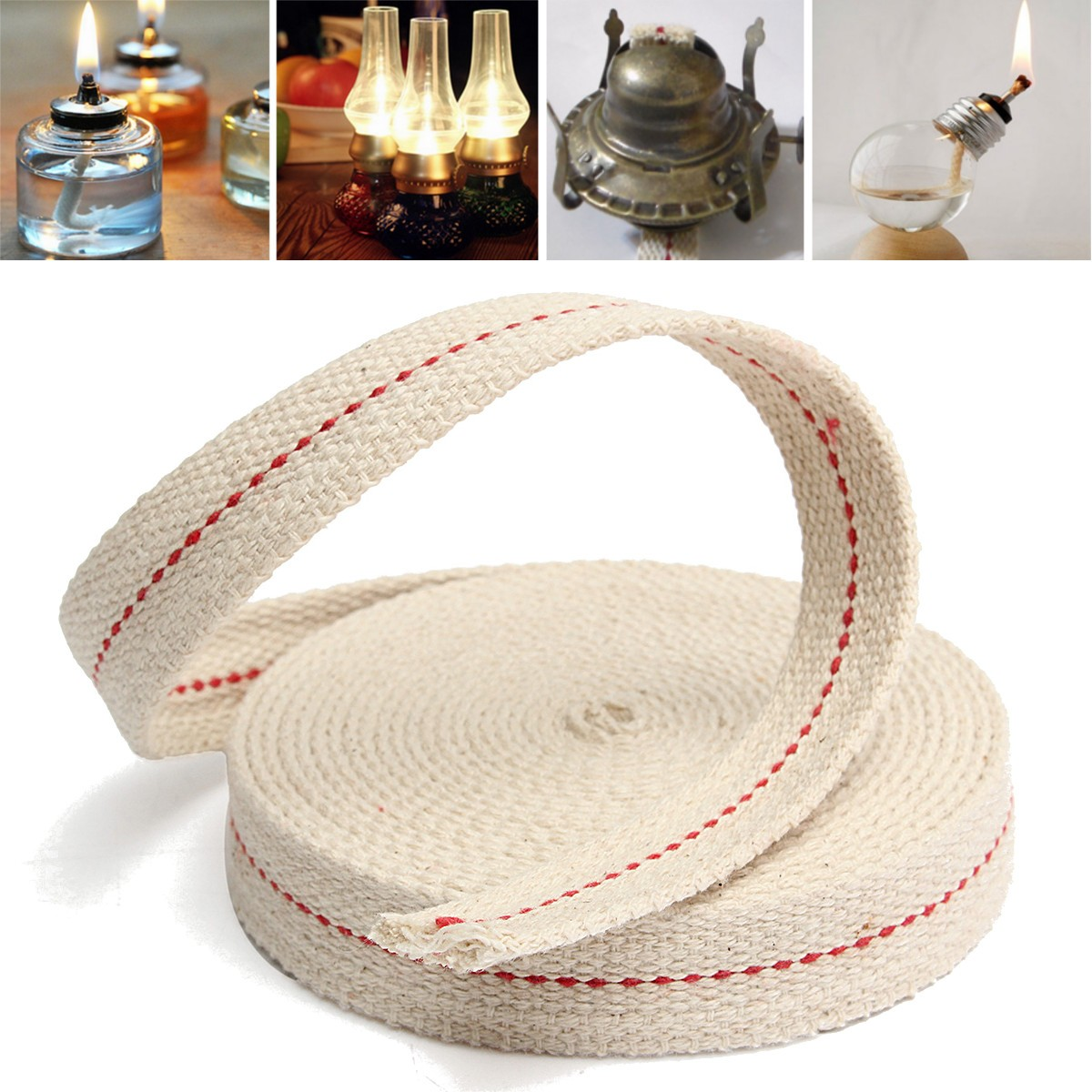 "Oil Lamp Mate 3 4"" Inch White Flat Cotton Fiber Alcohol Wick or Oil Lantern Wick.15 Foot Roll by"
