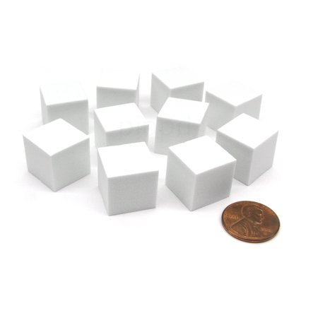 Koplow Games Pack of 10 16mm Blank Foam Dice Cubes with Square Corners - White #16803