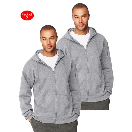 Sweatshirt Oxford - Hanes Mens Ultimate Cotton; Heavyweight Full Zip Hoodie, Color: Oxford Grey, Size: 3XL --- PACK OF 2 (Men's Athleticwear - Original Company Packing)