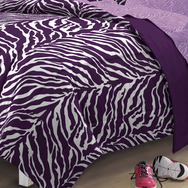 My Room Zebra Complete Bed In A Bag Bedding Set, Purple   Walmart.com