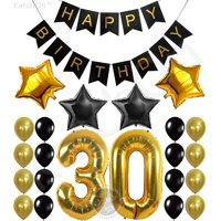 30th Birthday Party Decorations KIT - Happy Birthday Banner, 30th Gold Number Balloons,Gold and Black, Number 30, Perfect 30 Years Old Party Supplies,Free Bday Printable Checklist