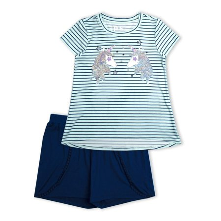 p.s.09 from aeropostale Unicorn Reversible Flip Sequin and Jersey Short, 2-Pice Outfit Set (Little Girls & Big Girls) (Little Girl Clothes)
