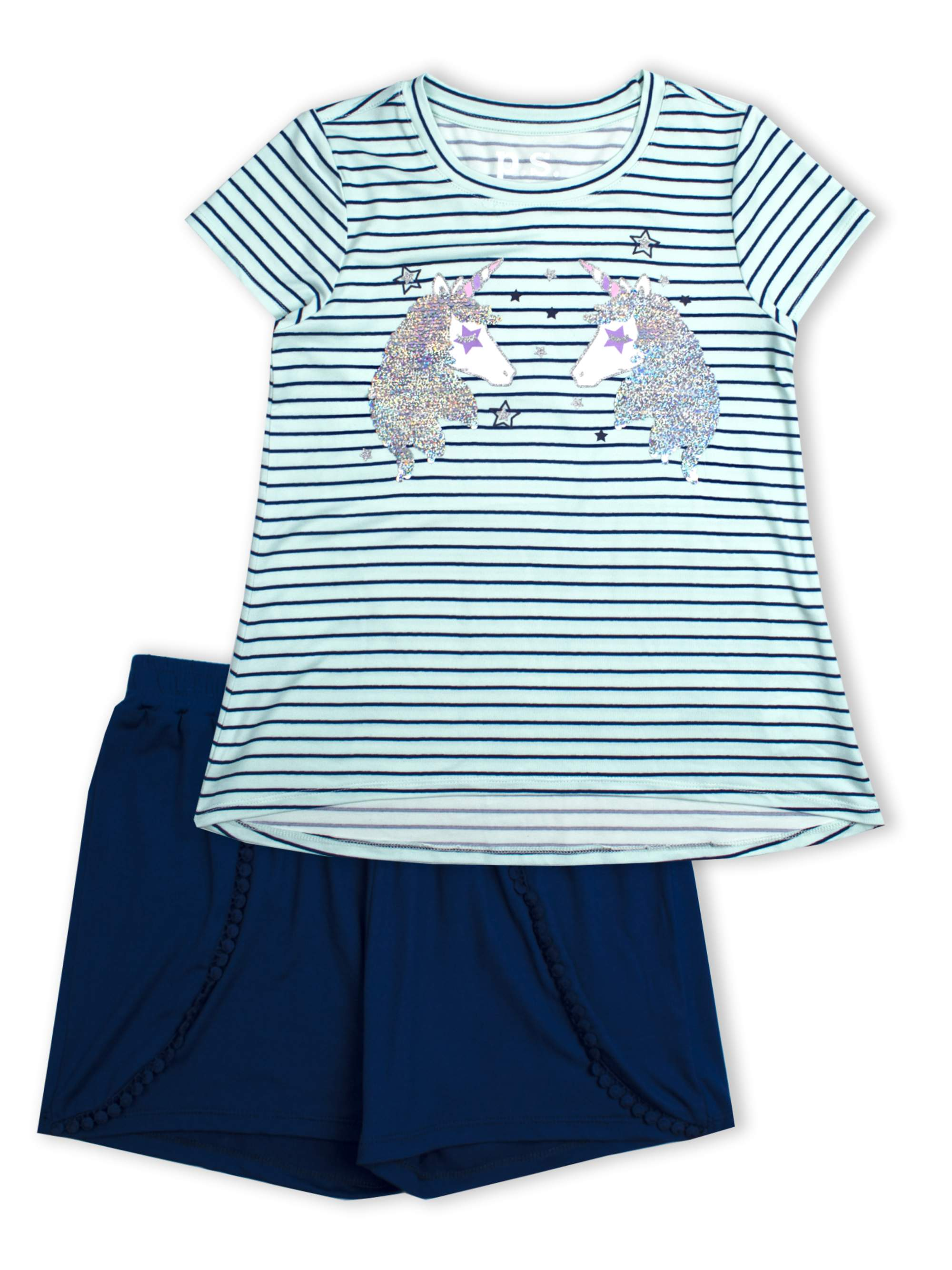 Unicorn Reversible Flip Sequin and Jersey Short, 2-Pice Outfit Set (Little Girls & Big Girls)