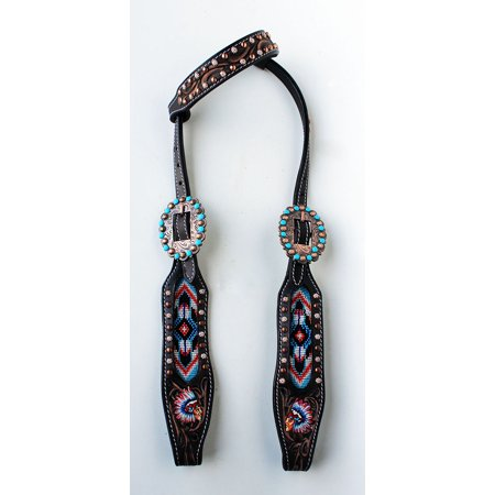 Turquoise Horse Carving (Horse Show Bridle Western Leather Headstall Brown Turquoise Carved Beads 79107HA )