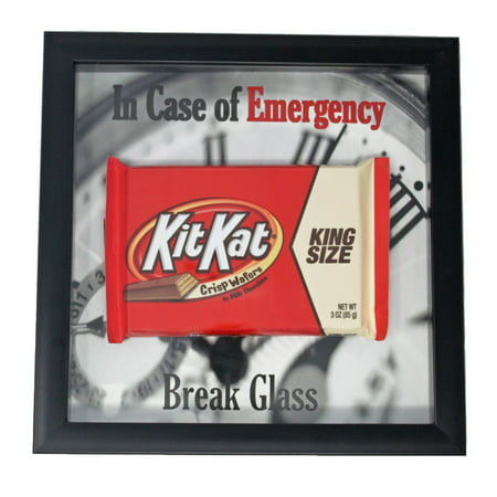 Kit Kat Gimme a Break Candy Bar in Case of Emergency Break Glass Funny Gift   Shadow Box Frame   Chocolate Coworker (In Case Of Emergency Break Glass Box)