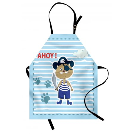 Ahoy Its a Boy Apron Cute Cat Pirate Funny Paws Clouds Maritime Striped Framework, Unisex Kitchen Bib Apron with Adjustable Neck for Cooking Baking Gardening, Turquoise Violet Blue Red, by - Pirate Apron