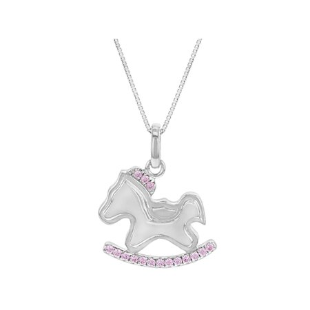 925 sterling silver pink cz rocking horse pendant necklace for girls 925 sterling silver pink cz rocking horse pendant necklace for girls 16 mozeypictures Gallery