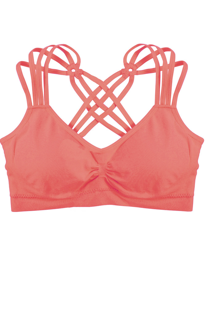 edfcaa7e80 Humble Chic NY - Criss Cross Padded Sports Bra - Light Support Seamless  Wireless Strappy Bralette
